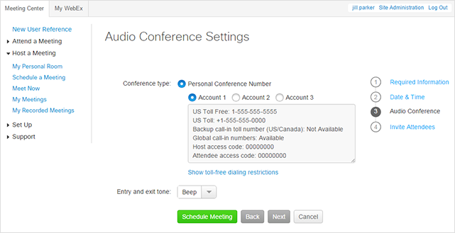 WebEx - Schedule a Personal Conference Meeting - Audio conference settings