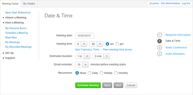 WebEx - Schedule a Personal Conference Meeting - Date and time
