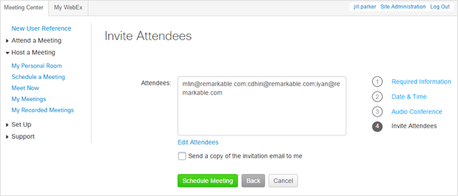 WebEx - Schedule a Personal Conference Meeting - Invite attendees