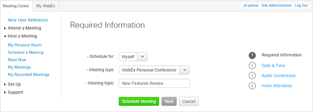 WebEx - Schedule a Personal Conference Meeting - Required info