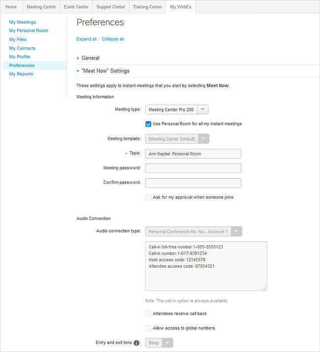 My WebEx - Preferences - Settings