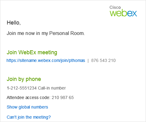 Personal Room - email invitiation
